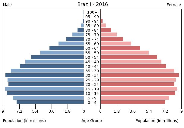 Population pyramid of Brazil 2016