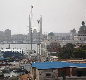 Port Fouad as seen across the Suez Canal from Port Said.