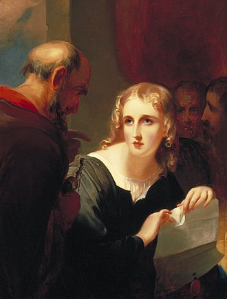Letter and spirit of the law - Shylock and Portia (1835) by Thomas Sully