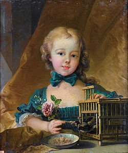 Portrait of Alexandrine Le Normant d'Étiolles (daughter of Madame de Pompadour), playing with a Goldfinch.jpg