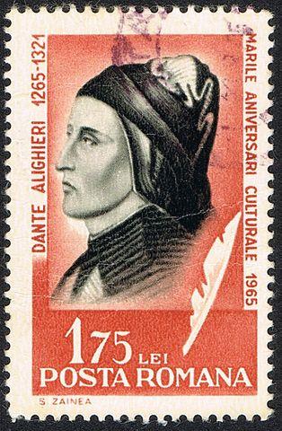 Почтовая марка Румынии, посвящённая Данте Алигьери