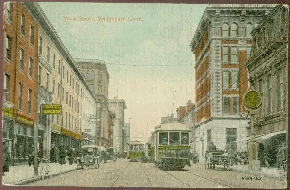 PostcardBridgeportCTMainSt1912