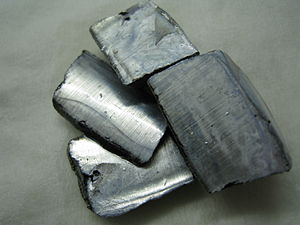 Potassium - Pieces of potassium metal