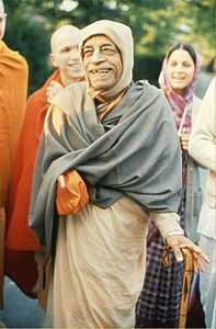 Prabhupada on a morning walk in Germany 1974.jpg