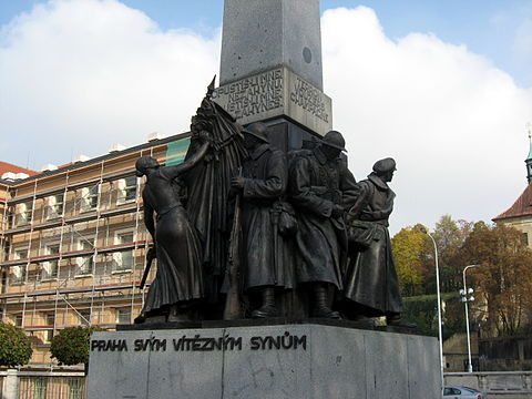 """Prague to Its Victorious Sons"", a monument to the Czechoslovak Legions at Palacky Square Praha svym viteznym synum (2).jpg"