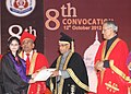 Pranab Mukherjee presenting a degree to a student at the 8th Convocation of King George's Medical University, at Lucknow, in Uttar Pradesh on October 12, 2012. The Governor of Uttar Pradesh, Shri B.L. Joshi is also seen.jpg