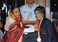 Pratibha Devisingh Patil presenting the Rajiv Gandhi Khel Ratna Award for the year-2009 to Smt. M. C. Marykom for Women Boxing, in a glittering ceremony, at Rashtrapati Bhawan, in New Delhi on August 29, 2009.jpg