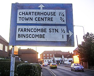 Road signs in the United Kingdom - A pre-Worboys road sign on Meadrow, in Farncombe. Only a handful of these pre-1963 signs still exist.