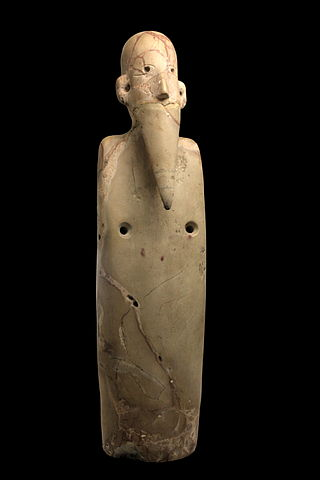 Figurine of a bearded man; by the Naqada I culture; 3800-3500 BC; breccia; from Upper Egypt; Musée des Confluences (Lyon, France)