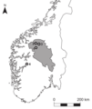 Prehistoric and Medieval Skis from Glaciers and Ice Patches in Norway Fig 1 Map of archaeological ski finds in Norway.png