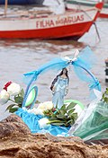 Offering to IemanjáSmall boat with Iemanjá image, flowers and gifts