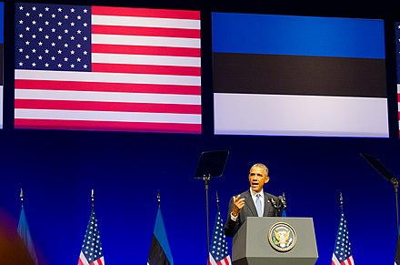 US President Barack Obama giving a speech at the Nordea Concert Hall in Tallinn President Barack Obama giving a speech at the Nordea Concert Hall on 2014-09-03 in Tallinn, Estonia.jpg