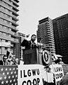 President John F. Kennedy speaking at the ILGWU cooperative housing dedication, 1962 (5278791447).jpg