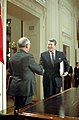 President Ronald Reagan and Soviet General Mikhail Gorbachev shaking hands after signing the INF Treaty in the East Room.jpg