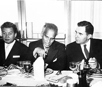V. K. Krishna Menon - V.K. Krishna Menon (age 62) giving a luncheon in 1958 in honour of His Royal Highness Prince Norodom Sihanouk and Andrei Gromyko, Foreign Minister of the Soviet Union.