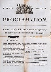 Proclammation of the abolition of slavery by Victor Hughes in the Guadeloupe, the 1st November 1794