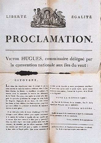 Slavery in the British and French Caribbean - Emancipation proclamation of Guadeloupe.