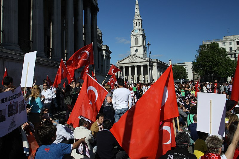 File:Protests again Turkey primeminister Ergonan on Trafalgar Square in London, spring 2013 (2).JPG