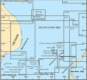 Dangerous Ground (South China Sea) - Map showing the areas covered by NGA charts