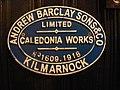 Pub brass - locomotive plate Andrew Barclay, Kilmarnock.jpg