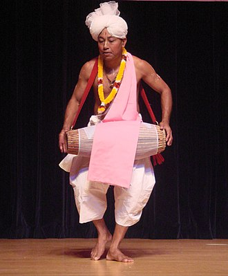East Zone Cultural Centre - A traditional, Pung cholom performer.
