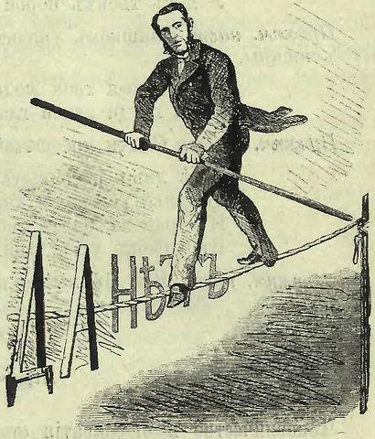 Либерал-эквилибрист, ловко колеблющийся во все стороны и отыскивающий благоразумную середину. Карикатура на Валуева в сатирическом журнале «Искра», 1862, №21.