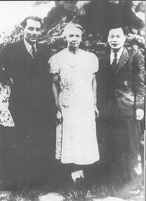 Frédéric Joliot-Curie - Frédéric and Irène Joliot-Curie with Qian Sanqiang