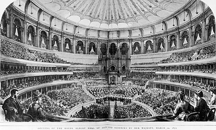 The first performance at the Hall. The decorated canvas awning is seen beneath the dome. RAH Grand Opening by Queen Victoria 29 March 1871 The Graphic.jpg