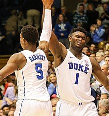 5fc65cea425 Barrett (left) celebrates with Zion Williamson in December 2018