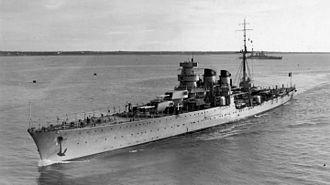 Italian cruiser Giuseppe Garibaldi (1936) - Giuseppe Garibaldi profile.