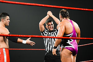 Ring of Honor - The Code of Honor allows wrestlers to establish themselves as heroic or villainous characters; the referee is shown trying to convince Michael Elgin to accept the hand of Eddie Edwards.