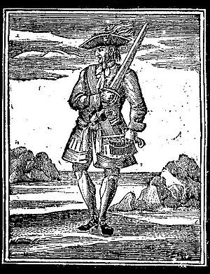 Calico Jack - A woodcut of Rackham from Charles Johnson's 1725 edition of A General History of the Pyrates