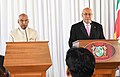 Ram Nath Kovind and the President of the Republic of Suriname, Mr. Desire Delano Bouterse delivering press statements after witnessing the exchange of documents of various agreements between India and Suriname.JPG
