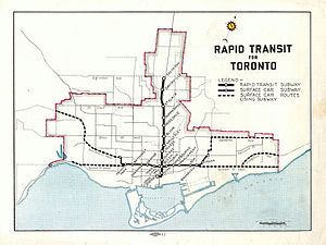 Relief Line (Toronto) - Image: Rapid Transit for Toronto map 1944