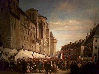 Savoy - People of Chambéry with French flags celebrating the annexation in 1860.