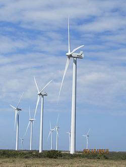 generacion de electricidad con turbina eolica. rawson, argentina