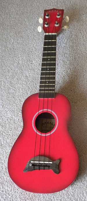 English: A red Ukulele, manufactured by Makala