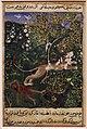 Regno moghul di akbar, storie di un pappagallo (tuti-nama) 05 il leone sospettoso uccide la scimmia, 1560 ca.jpg