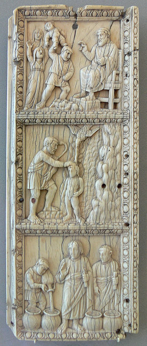 Life of Christ in art - Ivory panel with the Massacre of the Innocents, Baptism of Christ, and Wedding at Cana, 1st third of 5th century