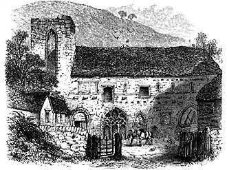 Valle Crucis Abbey - 1875 drawing of the abbey by Alfred Rimmer