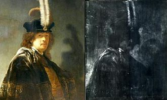 "Self-Portrait Wearing a White Feathered Bonnet - Rembrandt Self-portrait wearing a white feathered bonnet shown with x-ray of it. This is proof that it is not a period copy of an original oil painting, because it shows ""exploratory primary work"", or changes during the painting process."