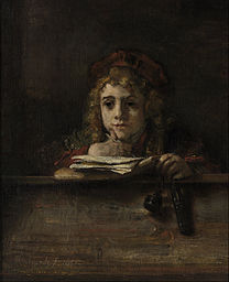 REMBRANDT Artist's son Titus at his desk (detail) 1655