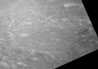Rhaeticus (crater) - Oblique view of Rhaeticus facing north, and showing Rhaeticus A crater in upper right.  From Apollo 12