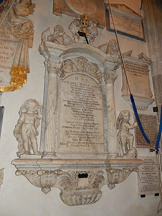 Chiswick - Memorial to Richard Tayler, d. 1716, complete with Corinthian aedicule, heraldic cartouche, statues of Father Time and Angel of Death, in the bell tower of St Nicholas Church, Chiswick
