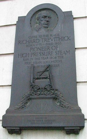 UCL Faculty of Engineering Sciences - A plaque on the Civil Engineering Laboratory  honoring railroad pioneer Richard Trevithick