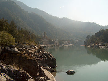 A view of the Ganges flowing through Rishikesh.