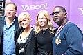 Rob Cavallo, Kimberly Caldwell, LeAnn Rimes & Randy Jackson at Yahoo Yodel 1.jpg