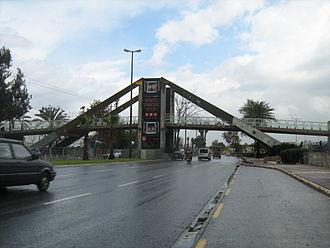 Tel Aviv Convention Center - a pedestrian bridge at the entrance