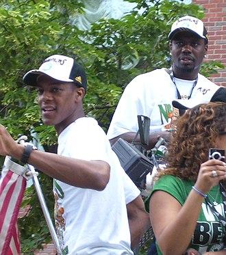 Rajon Rondo - Rondo during the Celtics' 2008 championship parade