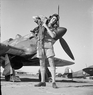 Pakistan Air Force Academy - A trainee pilot in front of Hawker Hurricane of No. 151 (Fighter) Operational Training Unit at Risalpur